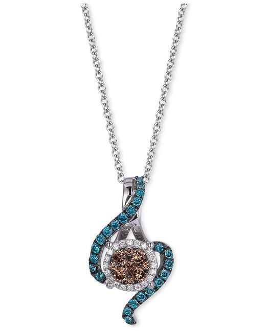 Le Vian | Metallic Exotics Chocolate, White And Blue Diamond Pendant Necklace (3/8 Ct. T.w.) In 14k White Gold | Lyst