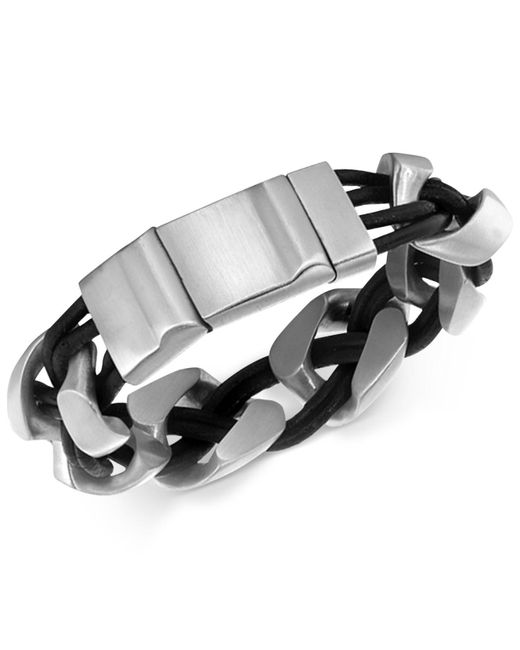 Macy's | Black Men's Linked Bracelet In Leather And Stainless Steel for Men | Lyst