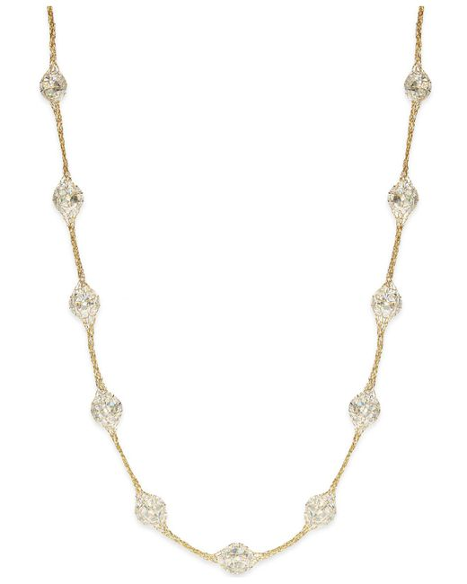 Macy's - 14k Gold Necklace, Metallic Thread Crystal Station Necklace - Lyst
