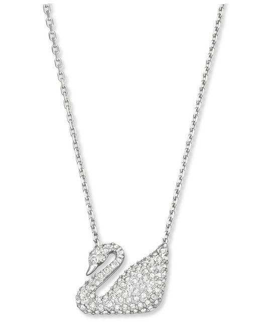 Swarovski | Natural Pendant, Crystal Pave Swan | Lyst