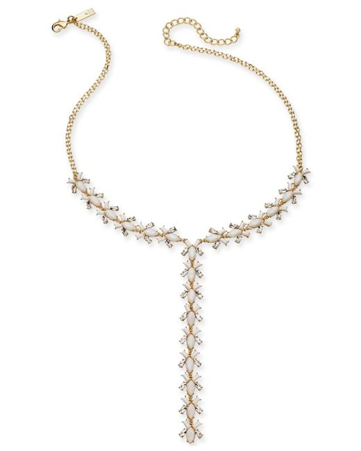 "INC International Concepts - Metallic I.n.c. Gold-tone Crystal & Stone Lariat Necklace, 20"" + 3"" Extender, Created For Macy's - Lyst"