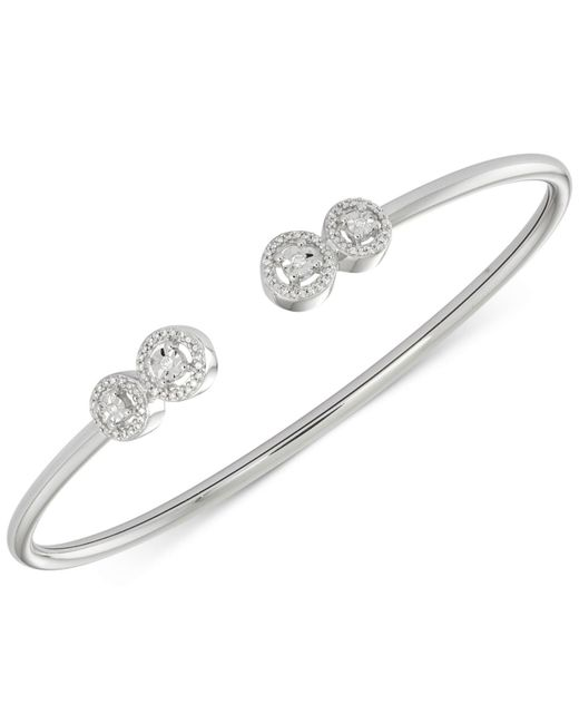 Wrapped in Love - White Diamond Cluster Bangle Bracelet (1/6 Ct. T.w.) In Sterling Silver - Lyst