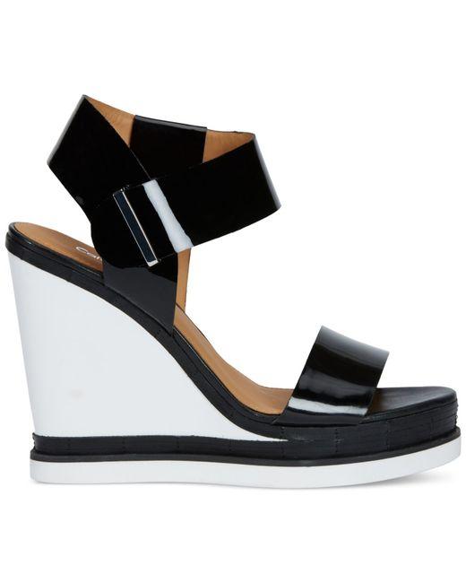 Calvin Klein Women S Padrina Platform Wedge Sandals In