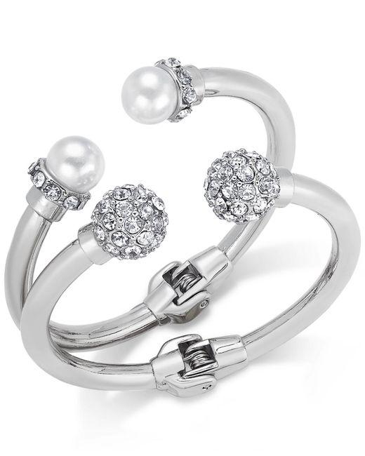 INC International Concepts - Metallic Imitation Pearl And Crystal Fireball Hinge Bracelet Set - Lyst