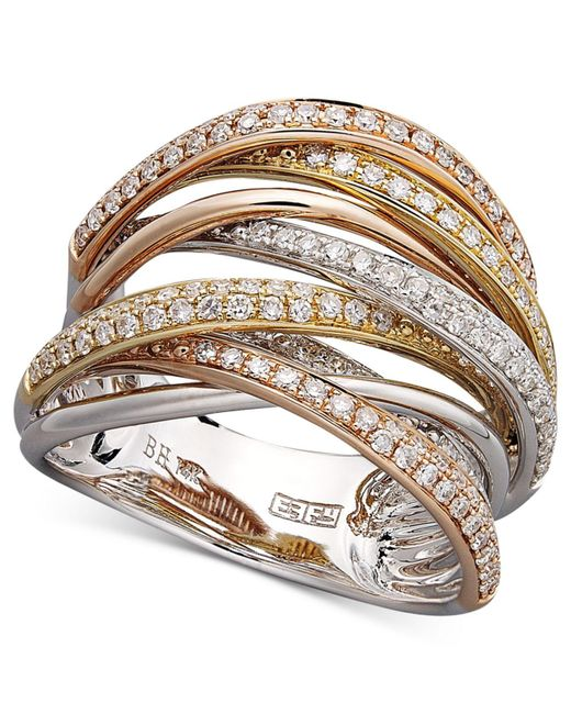 Effy Collection - Metallic Diamond Overlap (3/4 Ct. T.w.) In 14k White Gold, Yellow Gold And Rose Gold - Lyst