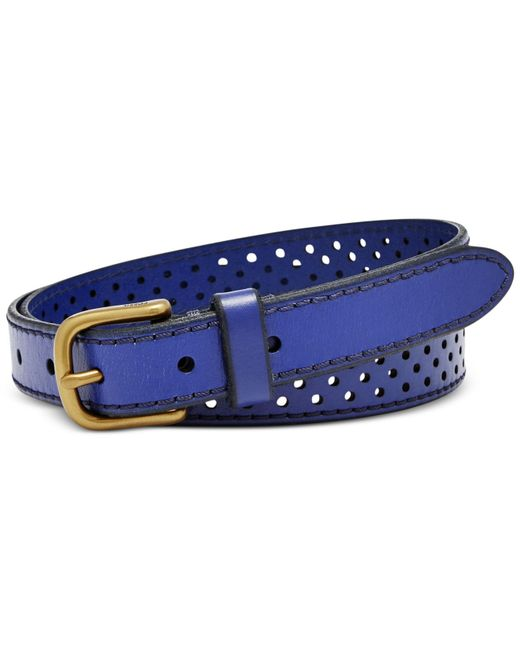 fossil brass buckle perforated dot leather belt in blue