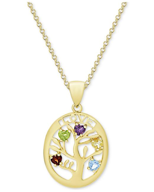 Macy's | Metallic Multi-gemstone Tree Of Life Pendant Necklace (3/4 Ct. T.w.) In 14k Gold-plated Sterling Silver | Lyst