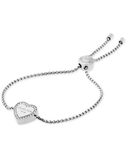 Michael Kors | Metallic Crystal Heart Logo Slider Bracelet | Lyst