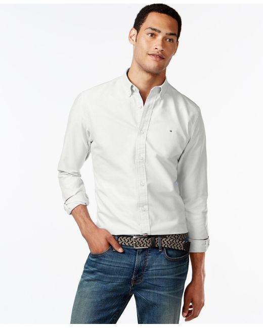 Tommy Hilfiger | White Men's New England Solid Oxford Shirt for Men | Lyst