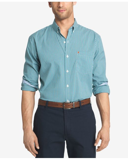 Izod men 39 s big and tall gingham long sleeve shirt in blue for Izod big and tall shirts