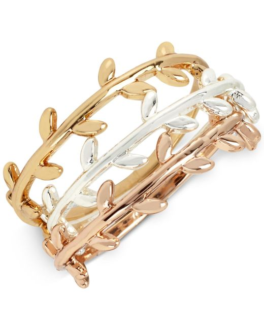 Hint Of Gold | Metallic Tri-tone Trio Set Vine-inspired Stack Rings In Gold-, Silver- And Rose Gold-plated Metal | Lyst