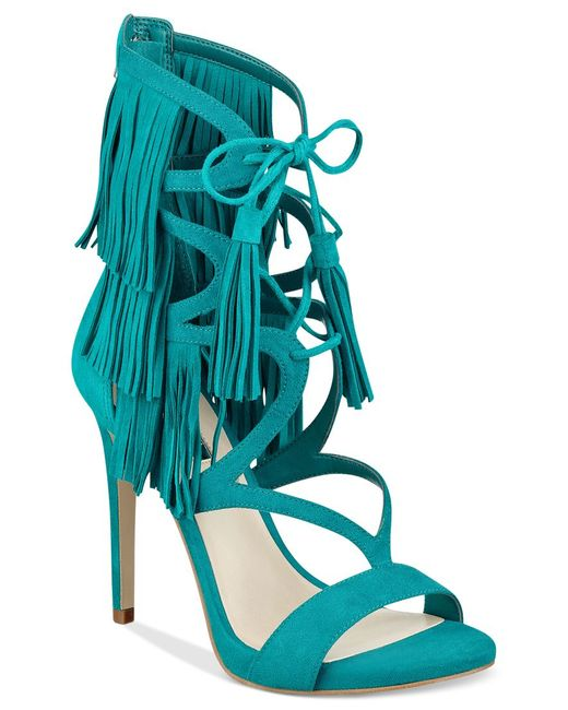 Guess Women S Abria Fringe Embellished Sandals In Blue Lyst