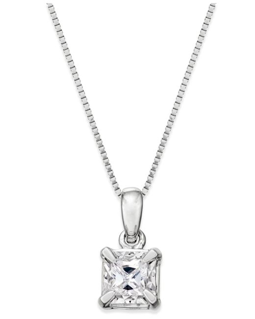 Macy's | Metallic Princess-cut Diamond Solitaire Pendant Necklace (1/4 Ct. T.w.) In 14k White Gold | Lyst