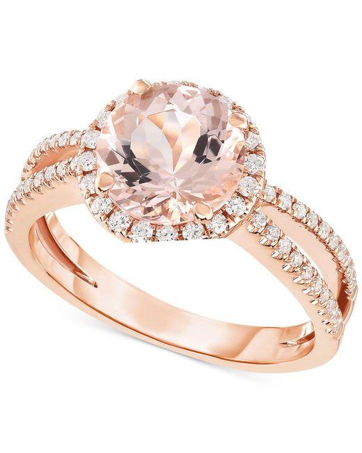 Macy's - Metallic Morganite (1-5/8 Ct. T.w.) & Diamond (1/3 Ct. T.w.) Ring In 14k Rose Gold - Lyst