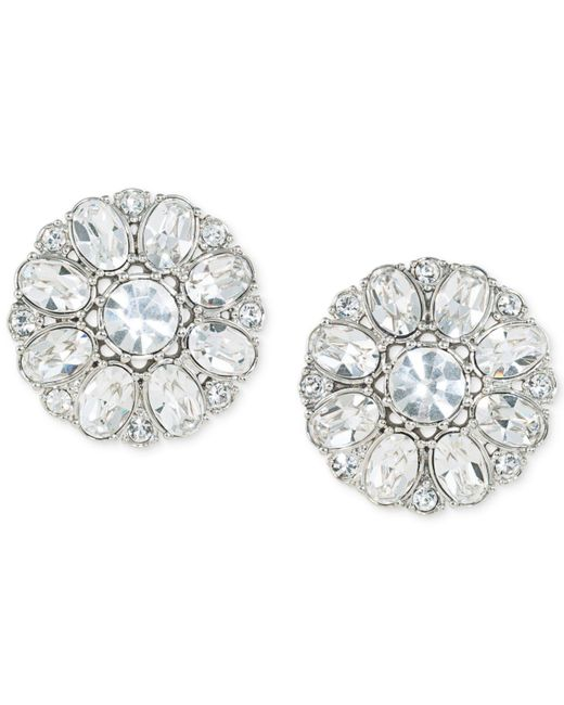 Carolee - Metallic Silver-tone Crystal Button Clip-on Earrings - Lyst
