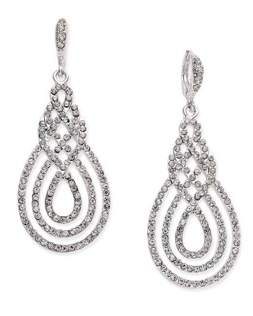 INC International Concepts - Metallic Gold-tone Pavé Open Saturn Drop Earrings - Lyst