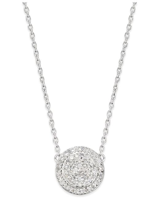 Macy's | Metallic Diamond Cluster Disc Pendant Necklace (1/5 Ct. T.w.) In Sterling Silver | Lyst
