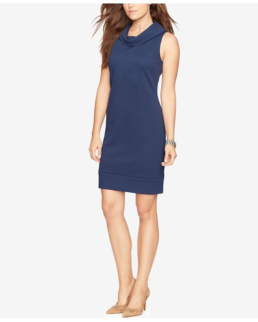 American Living Cowl Neck Sheath Dress In Blue Lyst