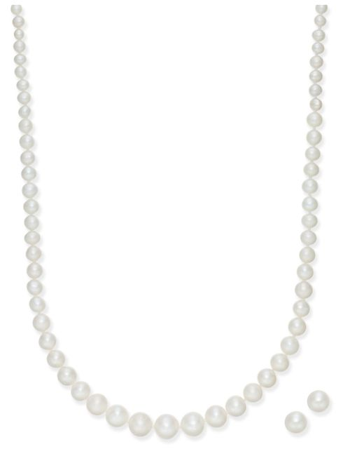 Macy's | Metallic Cultured Freshwater Pearl 2-pc. Set Graduated Collar Necklace (4-8mm) And Stud Earrings (6mm) | Lyst