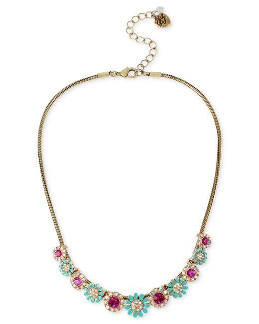 Betsey Johnson | Metallic Gold-tone Crystal And Pave Flower Collar Necklace | Lyst