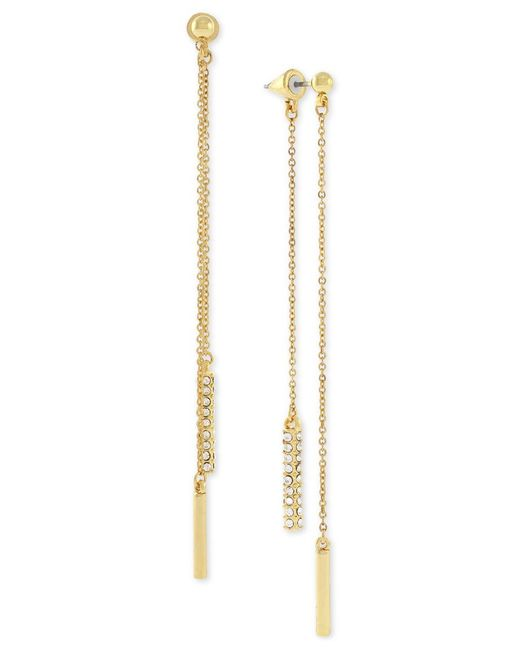 Vince Camuto | Metallic Gold-tone Pave Dangle Front And Back Earrings | Lyst