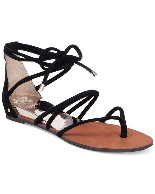 Vince Camuto Adalson Strappy Lace Up Flat Sandals In Black