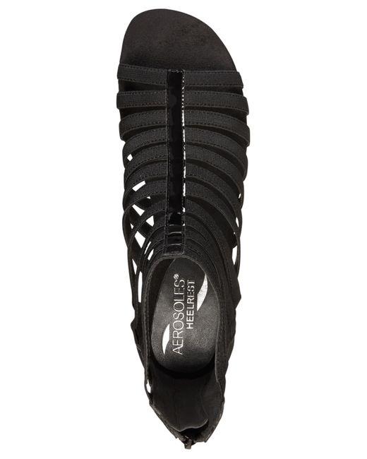 Aerosoles Yet Plane Flat Sandals In Black Black Patent