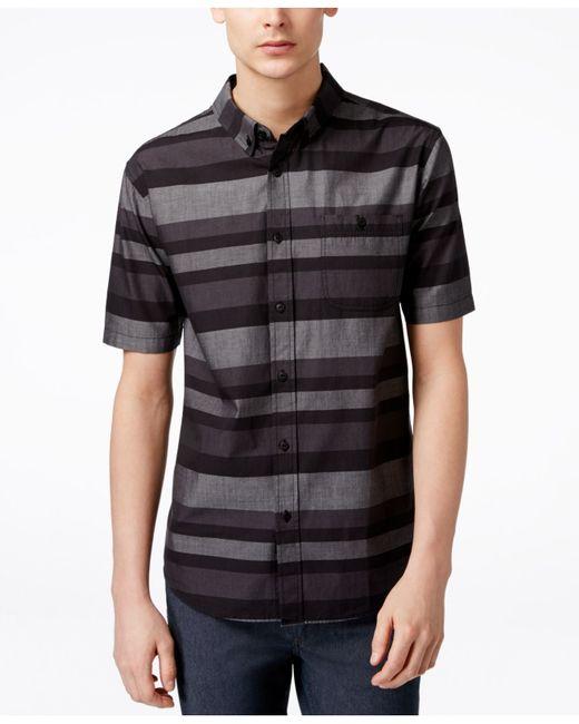 Ezekiel men 39 s freebyrd striped short sleeve button shirt for Striped button up shirt mens