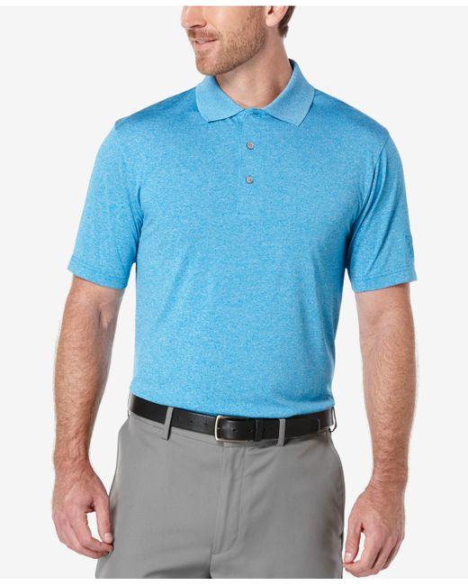 pga tour men u0026 39 s heathered golf polo shirt in blue for men