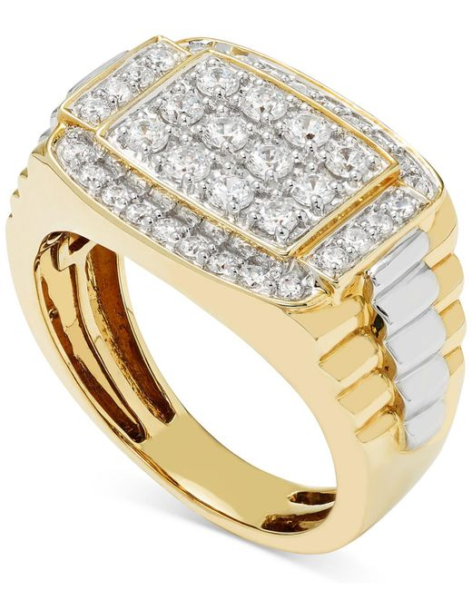 Macy's - Metallic Men's Diamond Cluster Two-tone Ring (1 Ct. T.w.) In 10k Yellow And White Gold - Lyst