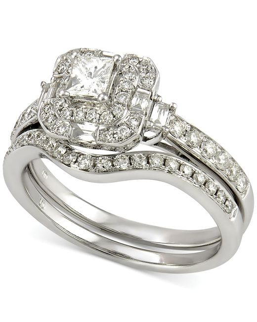 Macy s Diamond Bridal Set 7 8 Ct T w In 14k White Gold in Metallic