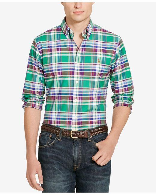 Polo Ralph Lauren | Green Plaid Oxford Shirt for Men | Lyst