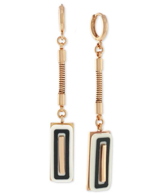 Vince Camuto | Metallic Hoop Earrings With Stone Accent | Lyst