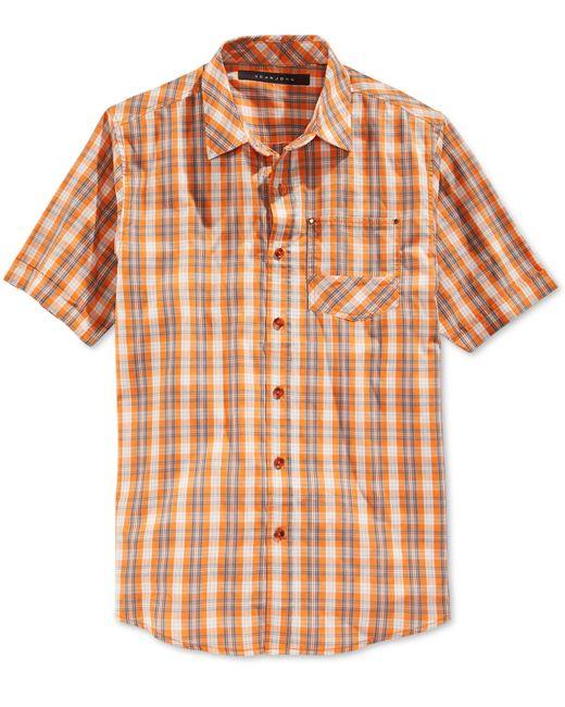 Sean John Men 39 S Short Sleeve Check Shirt In Orange For Men