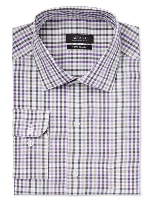 Alfani men 39 s big and tall performance purple plaid dress for Big and tall purple dress shirts