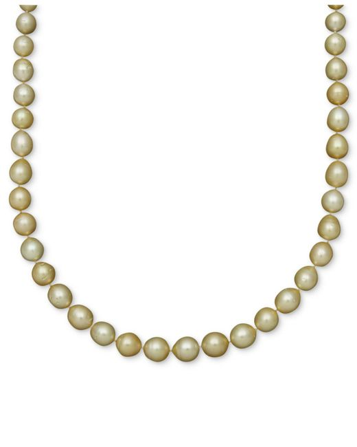 Macy's - Multicolor Pearl Necklace, 14k Gold Golden South Sea Pearl Oval Strand - Lyst
