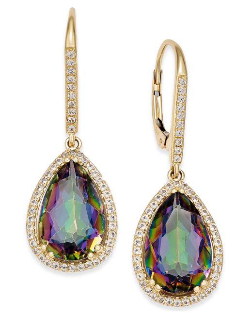 Macy's | Multicolor Mystic Topaz (10 Ct. T.w.) And White Topaz (1/2 Ct. T.w.) Teardrop Halo Drop Earrings In 14k Gold | Lyst