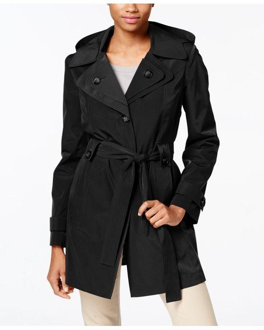 London Fog | Black Petite Layered-collar Belted Raincoat | Lyst