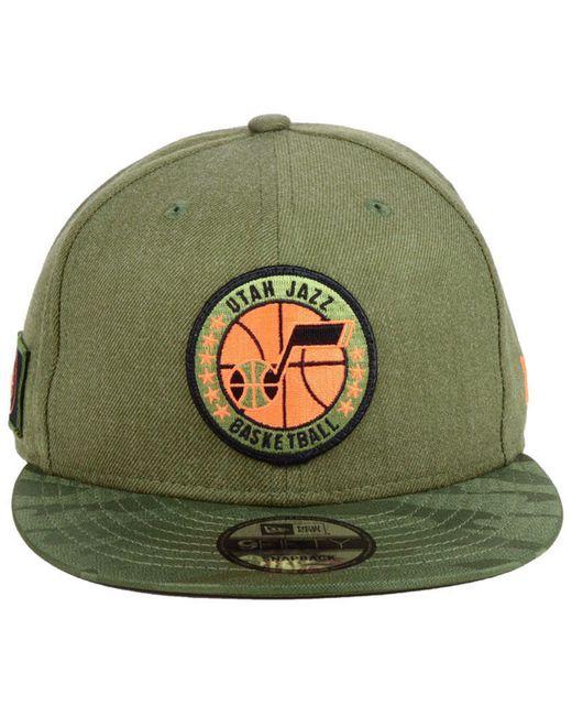 watch 83221 d6d3b ... coupon for ktz green utah jazz tip off 9fifty snapback cap for men lyst  9707c 29562