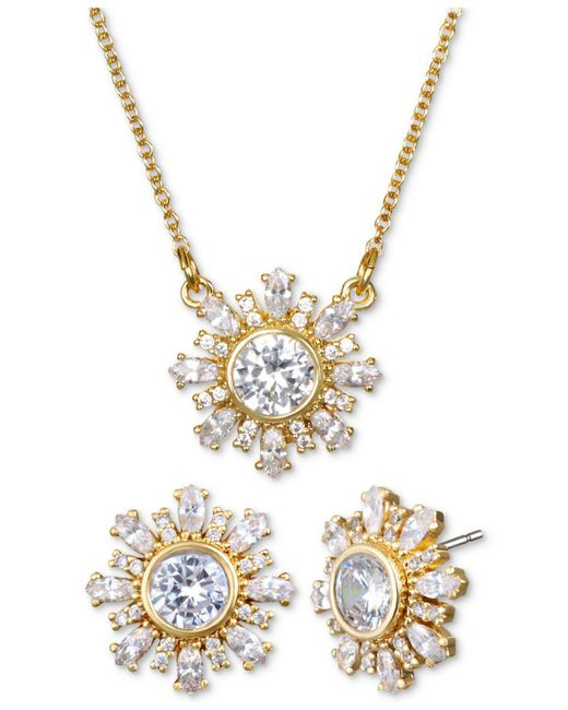 "Badgley Mischka - Metallic Crystal Flower 16"" Pendant Necklace & Stud Earrings Set - Lyst"