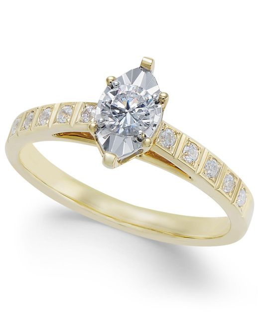 Macy's | Metallic Diamond Miracle-plate Engagement Ring (3/8 Ct. T.w.) In 14k Gold | Lyst