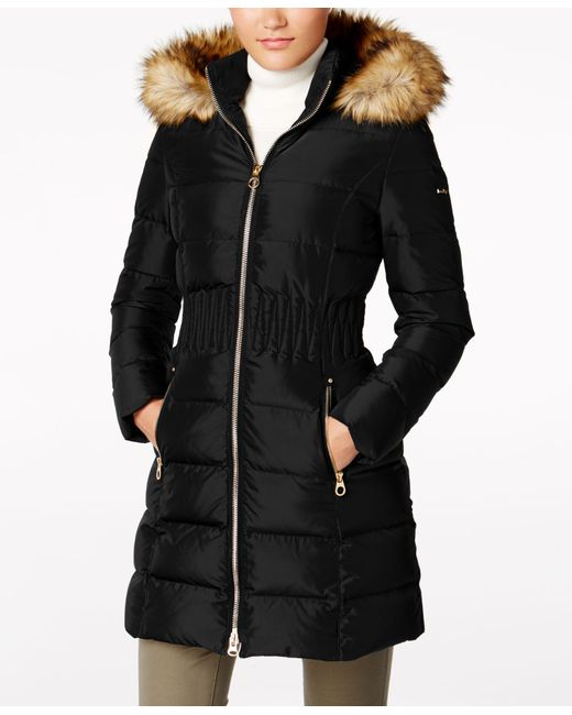 Laundry by Shelli Segal | Black Faux-fur-trim Puffer Coat | Lyst