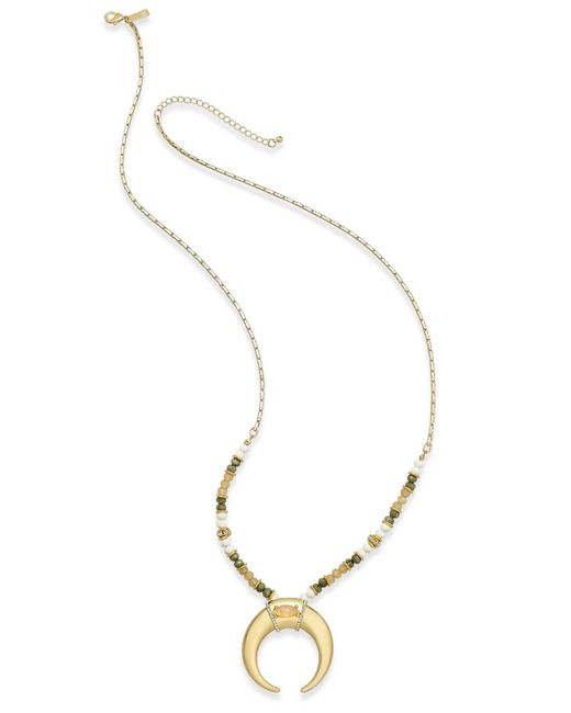 INC International Concepts | Pink Gold-tone Beaded Horn Pendant Necklace, Only At Macy's | Lyst