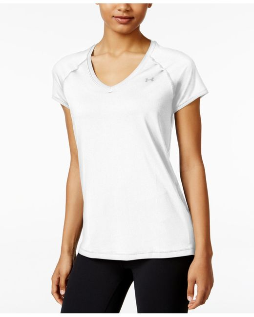 Under armour heatgear v neck t shirt in white lyst for Under armour heatgear white shirt