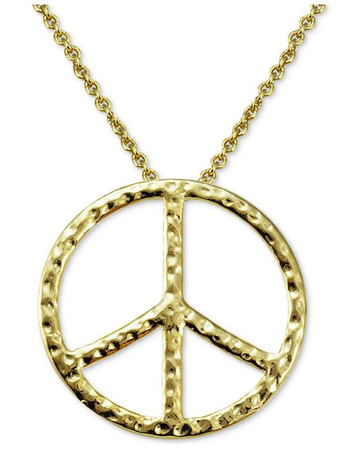 Giani Bernini   Metallic Textured Peace Sign Pendant Necklace In 18k Gold-plated Sterling Silver   Lyst