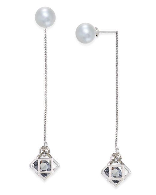 ABS By Allen Schwartz | Metallic Silver-tone Imitation Pearl Geometric Linear Earrings | Lyst