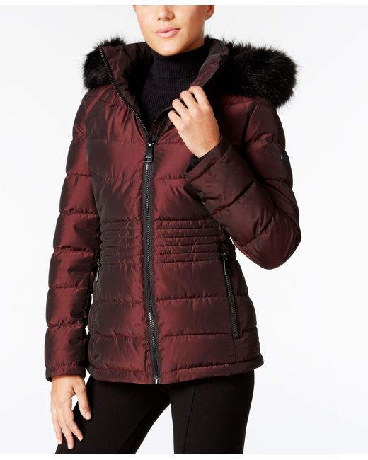 Calvin Klein | Red Packable Down Walker Coat With Velvet Collar | Lyst