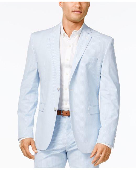Perry ellis Portfolio Men's Slim-fit Light Blue Seersucker ...