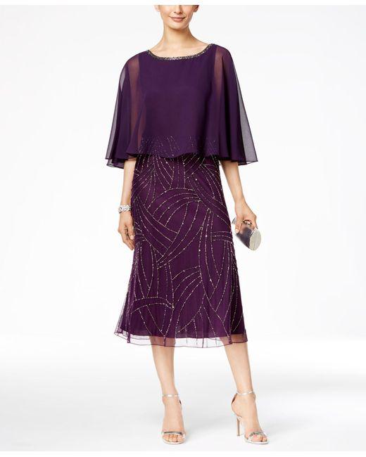 J Kara Beaded Capelet Midi Dress In Purple Lyst