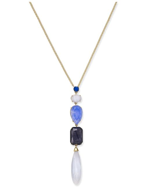 Kate Spade | Gold-tone Blue Stone Lariat Necklace | Lyst